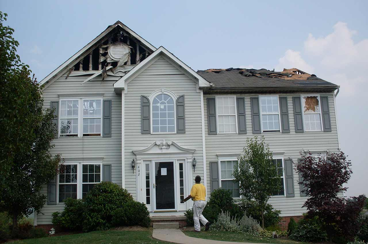 Gibsonia fire damage roof repair and new roof installation - before